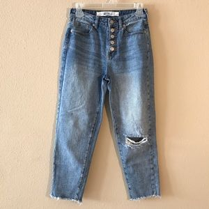 Brandy Melville Button Fly Distressed Mom Jeans